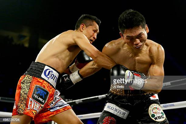 Francisco Vargas throws a right to the face of Takashi Miura during their WBC super featherweight title fight at the Mandalay Bay Events Center on...