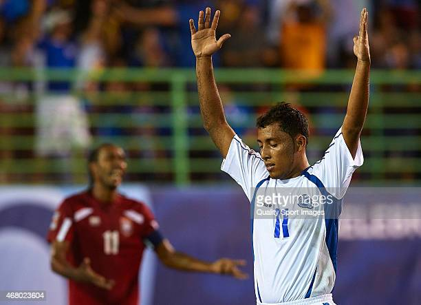 Francisco Velasquez of El Salvador celebrates after scoring during day one of the CONCACAF Beach Soccer Championships El Salvador 2015 match between...