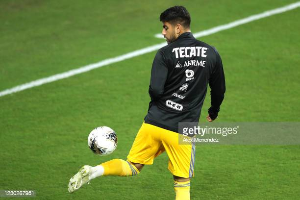 Francisco Venegas of Tigres UANL warms up during the CONCACAF Champions League final game against Los Angles FC at Exploria Stadium on December 22,...