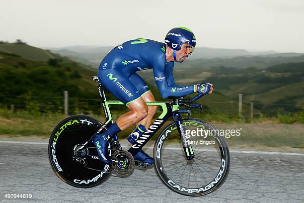 Francisco Ventoso of Spain and team Movistar in action during the twelfth stage of the 2014 Giro d'Italia a 42km Individual Time Trial stage between...
