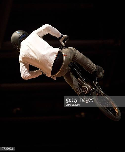 Francisco Zurita of Chile competes the BMX halfpipe competition and wins the 3rd place at the TMobile Xtreme Playgound event at the Volodrom on...