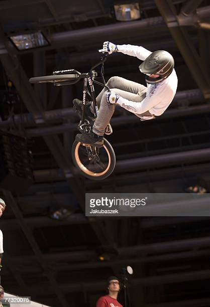 Francisco Zurita of the US competes the BMX halfpipe competition and wins the 3rd place at the TMobile Xtreme Playgound event at the Volodrom on...