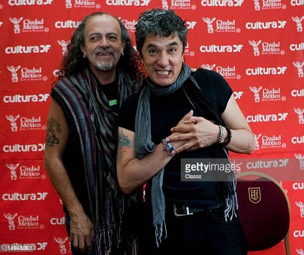 Francisko Barrios and Armando Vega Gil member of the rock band Botellita de Jerez at Ciudad Theatre on May 30 2011 in Mexico City Mexico