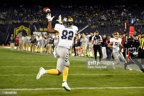 Francis Owusu of the San Diego Fleet catches a touchdown pass during the fourth quarter against the Birmingham Iron in an Alliance of American...