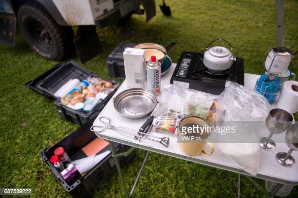 Francistown Botswana camping set up with 110 Land Rover defender