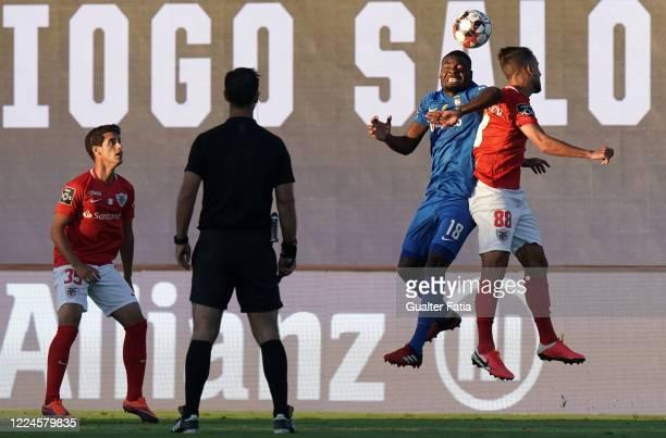Franck Bambock of CS Maritimo with Francisco Ramos of CD Santa Clara in action during the Liga NOS match between CD Santa Clara and CS Maritimo at...