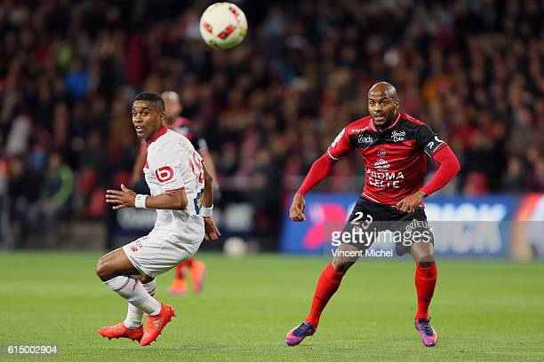 Franck Beria of Lille and Jimmy Briand of Guingamp during the Ligue 1 match between EA Guingamp and Lille OCS at Stade du Roudourou on October 15,...