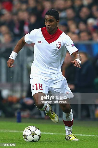 Franck Beria of Lille runs with the ball during the UEFA Champions League group F match between FC Bayern Muenchen and LOSC Lille at Allianz Arena on...