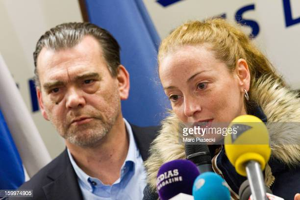 Franck Berton and Florence Cassez attend a Press conference following her release from prison in Mexico at CharlesdeGaulle airport on January 24 2013...