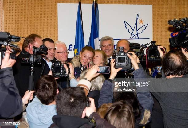 Franck Berton Bernard Cassez Florence Cassez Charlotte Cassez MarcPhilippe Daubresse and French Foreign Minister Laurent Fabius attend a Press...