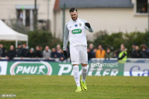 Franck Bollaert of Houilles looks dejected during the french National Cup match between Houilles and Concarneau on January 6 2018 in Houilles France