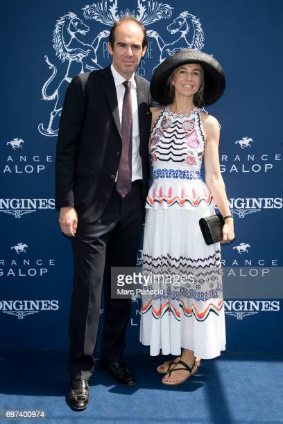 Franck Cycler and AnneCharlotte Pontabry attend the 'Prix de Diane Longines 2017' on June 18 2017 in Chantilly France