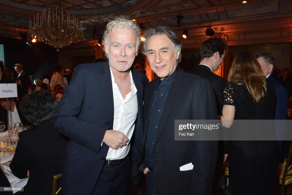 Franck Dubosc and Richard Berry attend 'La Recherche en Physiologie' Charity Gala (Les Stethos D'Or La Soiree Des Stars) at Four Seasons Hotel George V on March 13, 2017 in Paris, France.