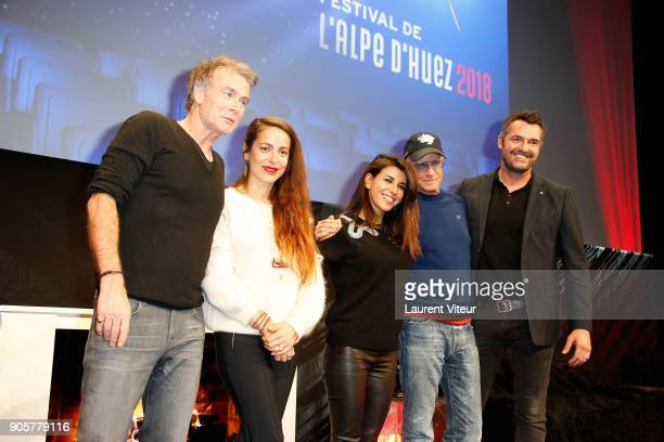 Franck Dubosc Audrey Dana Reem Kherici Christophe Lambert and Arnaud Ducret attend Opening Ceremony during the 21st L'Alpe D'Huez Comedy Film...