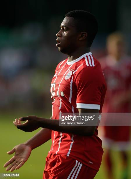 Franck Evina of Bayern celebrates after scoring his team's 4th goal during the preseason friendly match between BCF Wolfratshausen and Bayern...