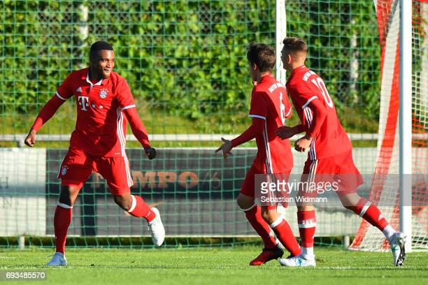 Franck Evina of Bayern Muenchen celebrates scoring the third goal for his team during the B Juniors German Championship Semi Final between Bayern...