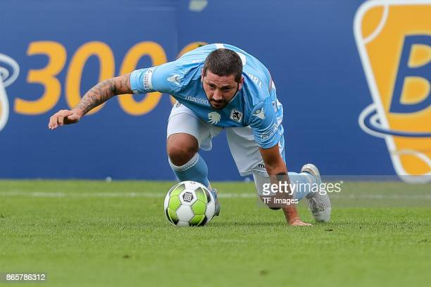 Franck Evina of Bayern Muenchen controls the ball during the match between TSV 1860 Muenchen and Bayern Muenchen II at Stadion an der Grünwalder...