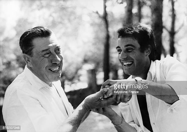 Franck Fernandel with his father Fernandel in France on August 23 1967