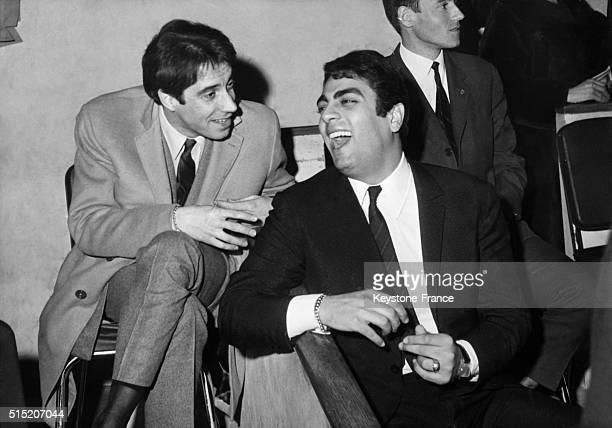 Franck Fernandel with singer Enrico Macias in Paris France on March 16 1966