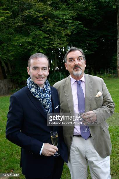 Franck Ferrand and JeanLouis Remilleux attend Members of the Stephane Bern's Foundation for 'L'Histoire et le Patrimoine' visit the 'College Royal et...
