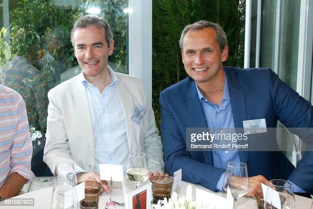 Franck Ferrand and Louis Laforge attend the France Television Lunch during the 2017 French Tennis Open Day Six at Roland Garros at Roland Garros on...