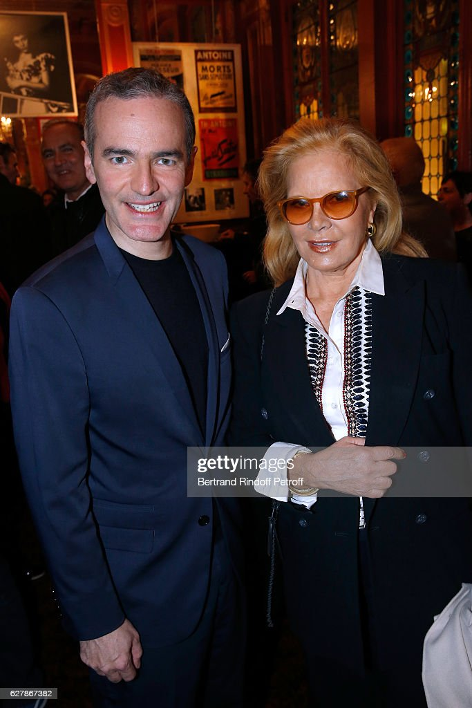 Franck Ferrand and singer Sylvie Vartan pose after Franck Ferrand performed in his Show 'Histoires' at Theatre Antoine on December 5, 2016 in Paris, France.