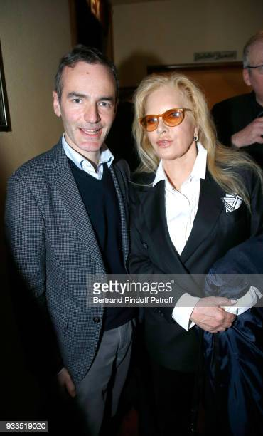 Franck Ferrand and Sylvie Vartan pose after Sylvie Vartan performed at Le Grand Rex on March 16 2018 in Paris France