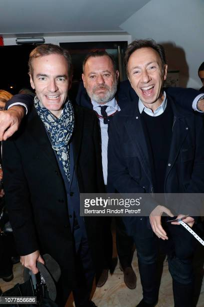 "Franck Ferrand, Louis Benech and Stephane Bern attend the ""Bonsoir"" Theater Play at Theatre Marigny Studio on December 05, 2018 in Paris, France."