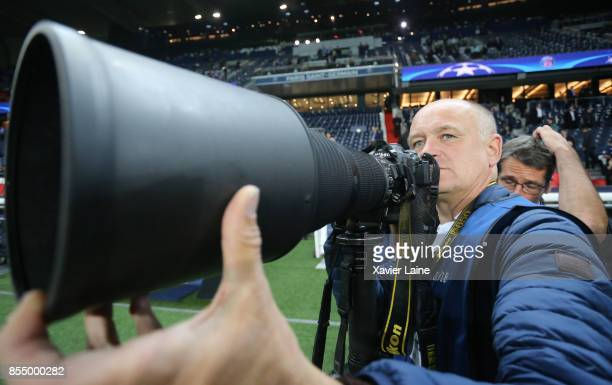 Franck Fife of AFP in action during the UEFA Champions League group B match between Paris SaintGermain and Bayern Muenchen at Parc des Princes on...