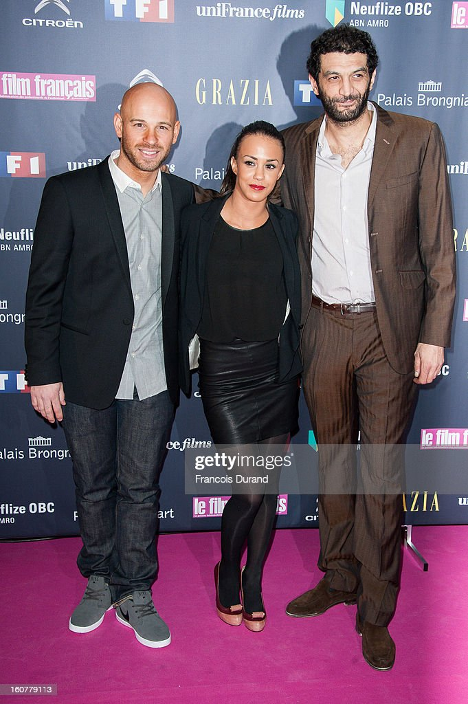 Franck Gastambide, Alice Belaidi and Ramzy Bedia attend the 'Trophees Du Film Francais' 20th Ceremony at Palais Brongniart on February 5, 2013 in Paris, France.