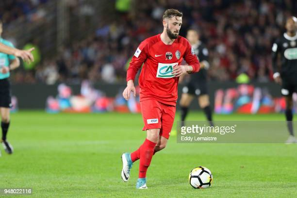 Franck Hery of Les Herbiers during the French Cup semi final match between Les Herbiers and Chambly at Stade de la Beaujoire on April 17 2018 in...