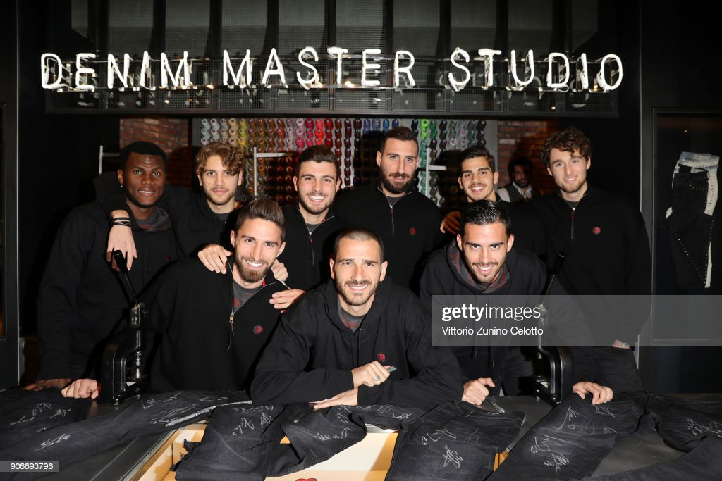 Franck Kessie, Davide Calabria, Leonardo Bonucci, Patrick Cutrone, Fernandez Suso, Andre Silva, Hakan Calhanoglu attend DIESEL X A.C. MILAN SPECIAL COLLECTION on January 18, 2018 in Milan, Italy.