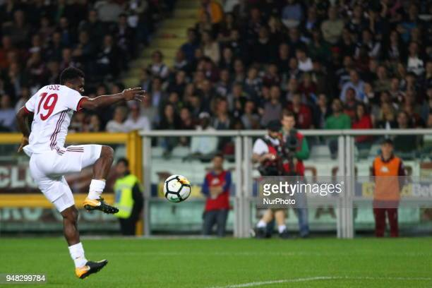 Franck Kessie in action during the Serie A football match between Torino FC and AC Milan at Olympic Grande Torino Stadium on April 18 2018 in Turin...