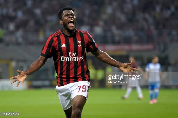 Franck Kessie of AC Milan celebrates after scoring a goal during the UEFA Europa League qualifier football match between AC Milan and CSU Craiova AC...