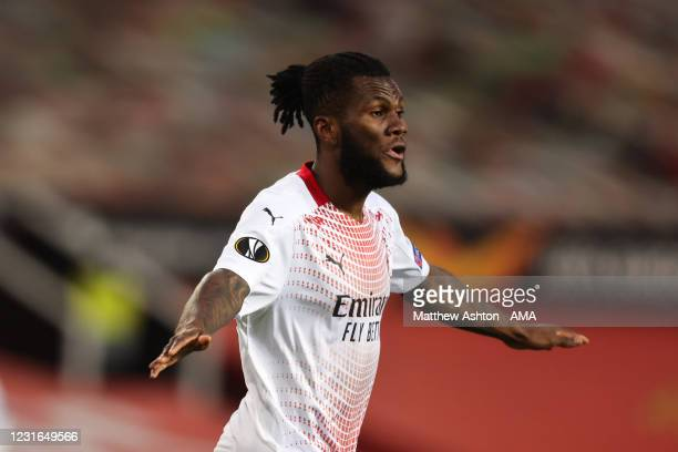 Franck Kessie of AC Milan celebrates after scoring a goal to make it 0-1 during the UEFA Europa League Round of 16 First Leg match between Manchester...