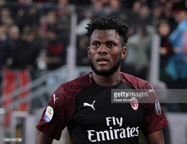 Franck Kessie of AC Milan celebrates after scoring the opening goal during the Serie A match between SS Lazio and AC Milan at Stadio Olimpico on...