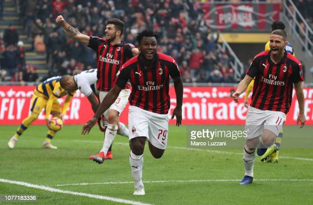 Franck Kessie of AC Milan celebrates his goal during the Serie A match between AC Milan and Parma Calcio at Stadio Giuseppe Meazza on December 2 2018...