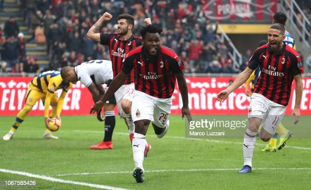 Franck Kessie of AC Milan celebrates his goal from the penalty spot during the Serie A match between AC Milan and Parma Calcio at Stadio Giuseppe...