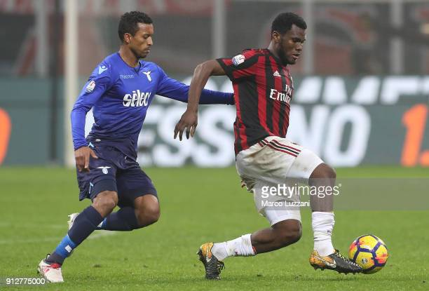 Franck Kessie of AC Milan competes for the ball with Luis Nani of SS Lazio during the TIM Cup match between AC Milan and SS Lazio at Stadio Giuseppe...