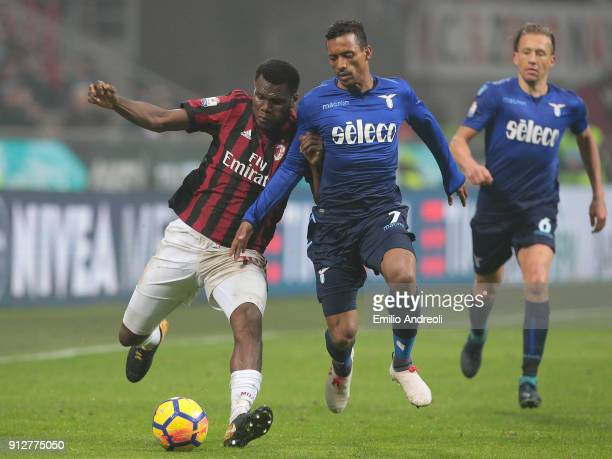 Franck Kessie of AC Milan competes for the ball with Nani of SS Lazio during the TIM Cup match between AC Milan and SS Lazio at Stadio Giuseppe...