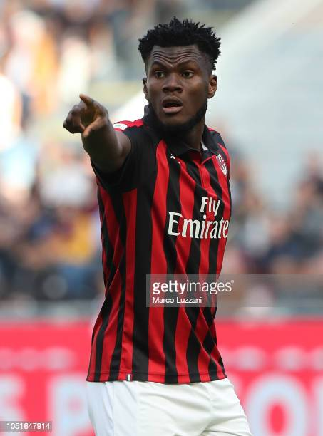 Franck Kessie of AC Milan gestures during the Serie A match between AC Milan and Chievo Verona at Stadio Giuseppe Meazza on October 7 2018 in Milan...