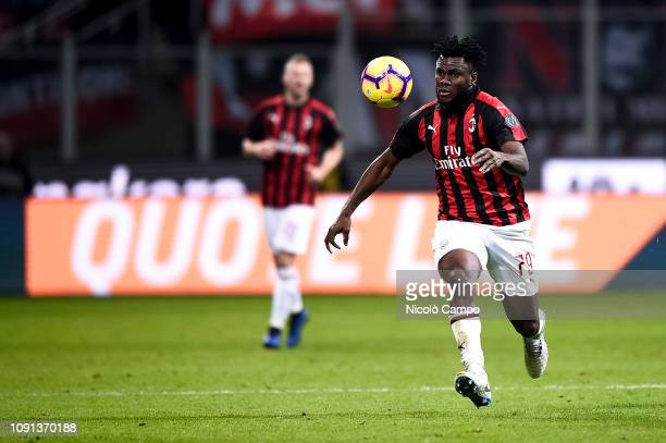 Franck Kessie of AC Milan in action during the Coppa Italia quarterfinal football match between AC Milan and SSC Napoli AC Milan won 20 over SSC...