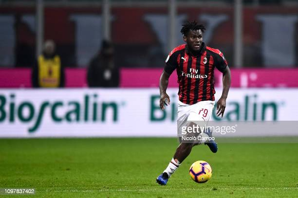 Franck Kessie of AC Milan in action during the Serie A football match between AC Milan and Cagliari Calcio AC Milan won 30 over Cagliari Calcio