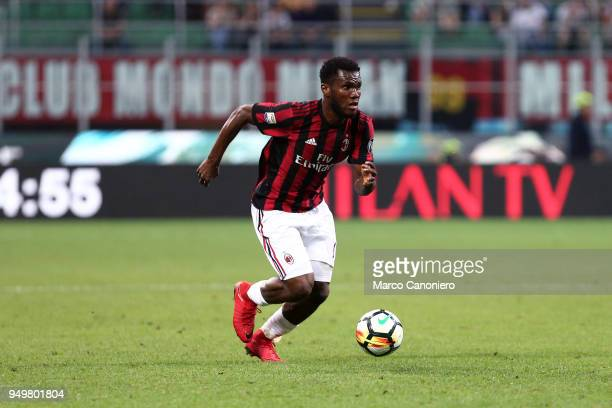 Franck Kessie of Ac Milan in action during the Serie A football match between AC Milan and Benevento Calcio Benevento Calcio wins 10 over Ac Milan