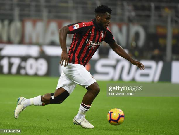 Franck Kessie of AC Milan in action during the Serie A match between AC Milan and Juventus at Stadio Giuseppe Meazza on November 11 2018 in Milan...