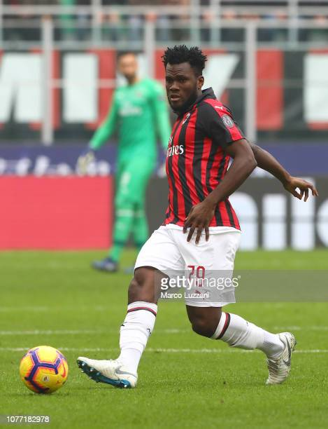 Franck Kessie of AC Milan in action during the Serie A match between AC Milan and Parma Calcio at Stadio Giuseppe Meazza on December 2 2018 in Milan...