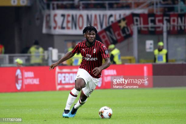 Franck Kessie of Ac Milan in action during the Serie A match between Ac Milan and Us Lecce The match ends in a draw 2 2