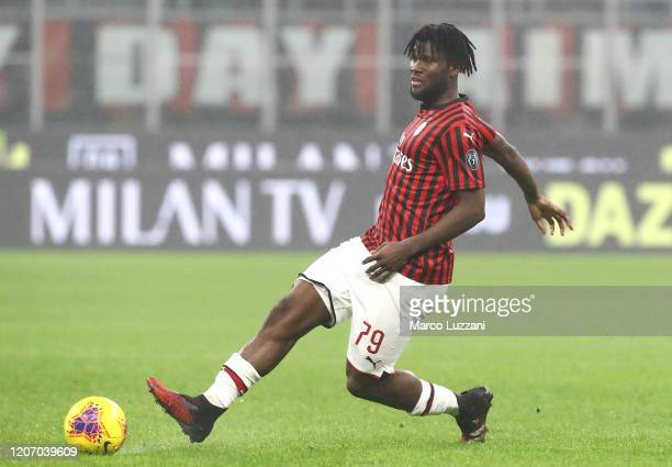 Franck Kessie of AC Milan in action during the Serie A match between AC Milan and Torino FC at Stadio Giuseppe Meazza on February 17 2020 in Milan...
