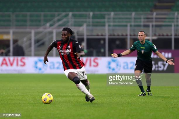 Franck Kessie of Ac Milan in action during the Serie A match between Ac Milan and Hellas Verona. The match end in a tie 2-2.