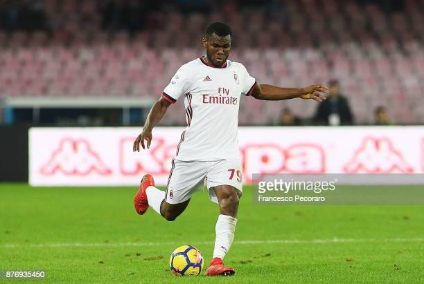 Franck Kessie of AC Milan in action during the Serie A match between SSC Napoli and AC Milan at Stadio San Paolo on November 18 2017 in Naples Italy